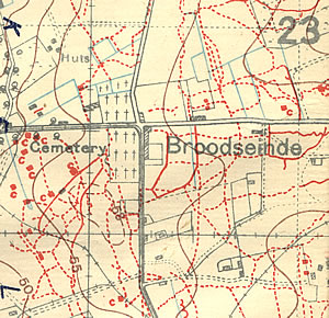 Section of trench map 28.NE1 showing German cemeteries.