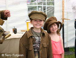 Trying on WW1 uniforms, Staffordshire Regiment Museum
