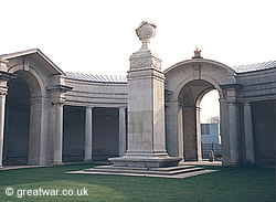 The British Flying Services Memorial, Arras Memorial to the Missing at Faubourg d'Amiens Cemetery in Arras.