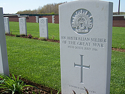 "Headstone for one of the Australian ""missing"" soldiers of the Battle of Fromelles."