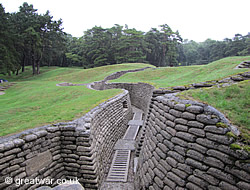 Preserved trenches at the Canadian Nationl Vimy Memorial Park on the Vimy Ridge.