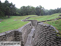 Preserved section of Front Line trench at Vimy Memorial Park.