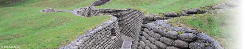Preserved line of trenches at the Vimy Memorial Park, northern France.