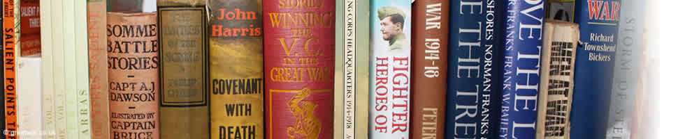 Bookshelf of WW1 books.