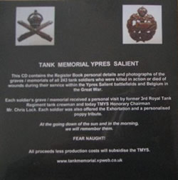 Cover of CD for the Tank Memorial Ypres Salient Legacy Project