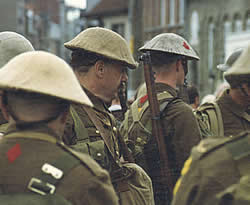 "Members of the ""Khaki Chums"" in Ypres on the occasion of the 75th anniversary of the Battle of Passchendaele in 1992. The ""Khaki Chums"" is a Living History group organised by Taff Gillingham and Khaki Devil. (©www.greatwar.co.uk)"