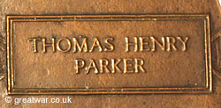 Name of Thomas Henry Parker on a Next of Kin Memorial Plaque