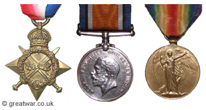 British campaign medals: 1914-15 Star, British War Medal and Victory Medal.