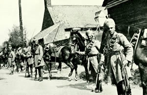 Indian cavalry in a French village (courtesy of GWPDA).