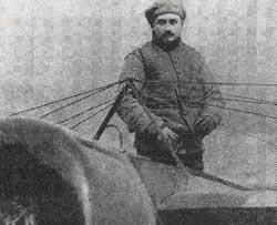 French aviator of WWI Roland Garros in his hydroplane Morane-Saulnier G 160HP with which he won the Monaco Rally in June 1914.
