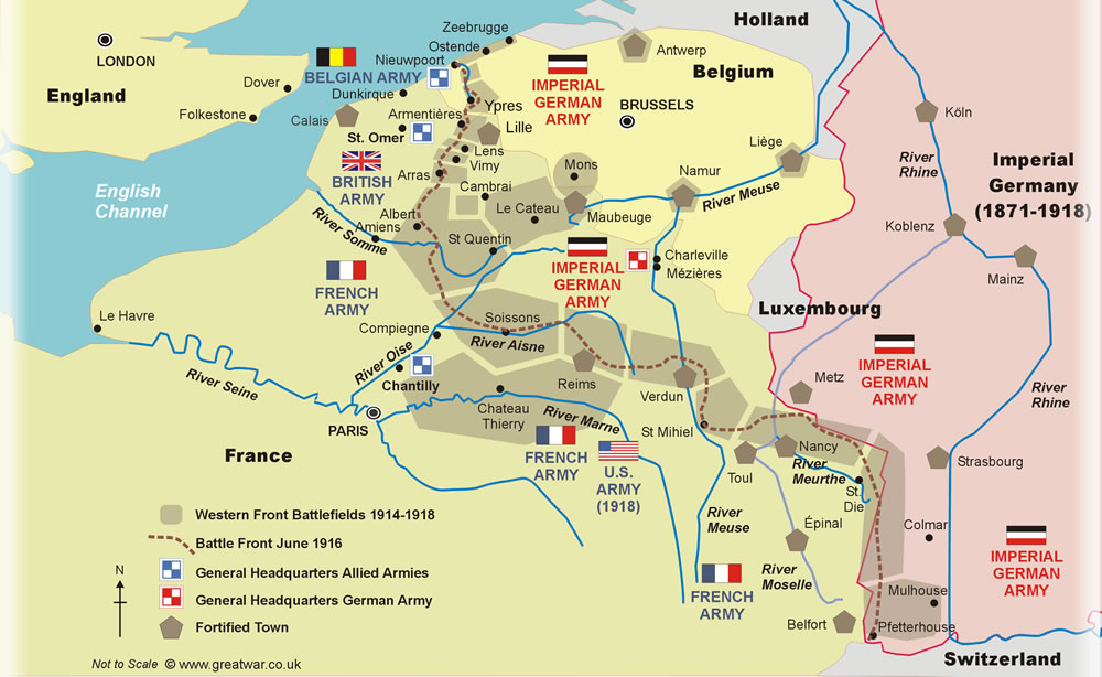Map of The Western Front showing WW1 battlefield locations in Belgium and France.