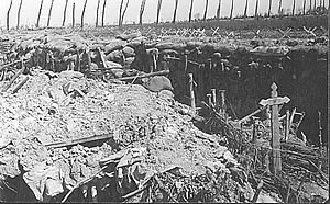 French grave in captured French trenches on the Ypres Salient battlefield.