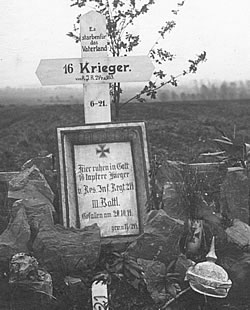Cross marking the grave of 16 unidentified German soldiers.