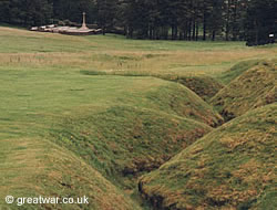Remains of trenches at Newfoundland Memorial Park on the Somme battlefields.