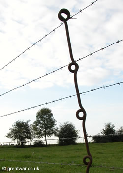 British iron post for barbed wire.