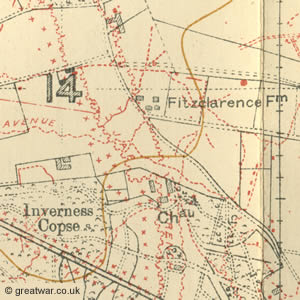Trench Map 28 N.E.3 Edition 7B with trenches corrected to 24.10.17 showing Fitzclarence Farm east of Ypres.