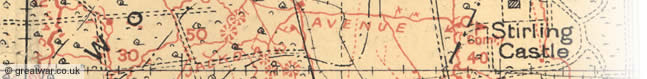 Detail from a British Army trench map near Hooge in the Ypres Salient.