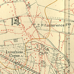 Trench Map 28NE3 Edition 7B showing Fitzclarence Farm east of Ypres.