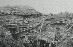 Damage to RIR 121 forward regimental headquarters, Somme battlefield, June 1916.