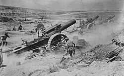 British guns shelling German positions.
