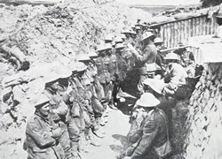 Roll call in the British trenches, 1 July 1916.