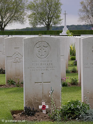Grave of Cpl T H Parker at London Road Cemetery, High Wood on the Somme battlefield.