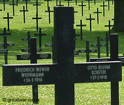German graves at Fricourt Cemetery, Somme
