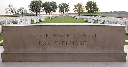 The Stone of Remembrance with the words from Ecclesiasticus suggested by Rudyard Kipling, Their Name Liveth for Evermore.