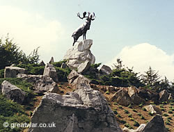 Newfoundland Caribou Memorial at Newfoundland Park, Beaumont-Hamel, Somme battlefield in France.