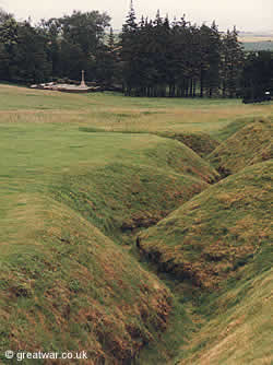 Trenches preserved at Newfoundland Memorial Park near Beaumont-Hamel.