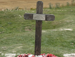 Cross marking the spot where the remains of Private George Nugent were found in 1998.