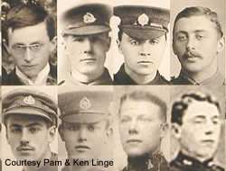 Some of the 600 men featured on the photographic panel located in the Thiepval Visitor Centre.