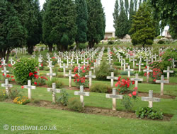 French graves in the Serre-Hébuterne French Military Cemetery, near Serre on the Somme battlefield, France.