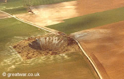 Aerial view of the Lochnagar mine crater.