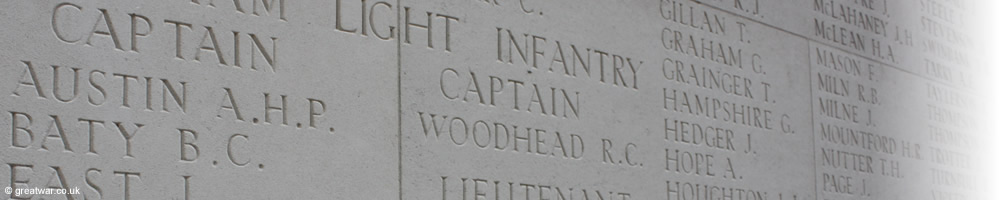 Names of officers and men on the Thiepval Memorial to the Missing.