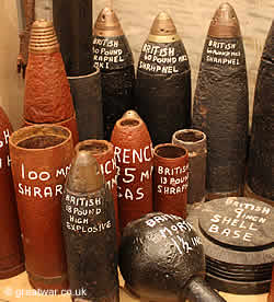 Artillery shells on display at the museum in the Ulster Tower Memorial to 36th Ulster Division on the Somme battlefield.