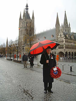 Lieutenant Colonel Graham Parker, OBE, founder of The Poppy Umbrella in Ypres on 11 November 2008.
