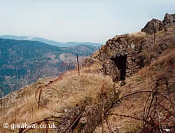 A bunker and trench on the Hartmannswillerkopf mountain in the Vosges