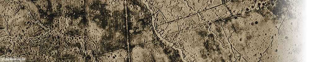 Section of an aerial photograph, May 1917, over the Front Lines east of Ploegsteert Wood, south of Ypres.
