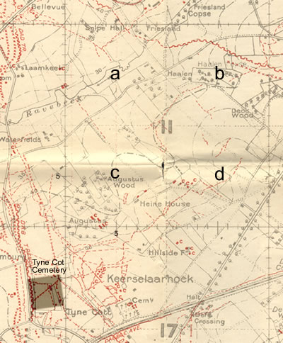 British Army trench map 28NE1 with German trenches corrected to 27 September 1917.