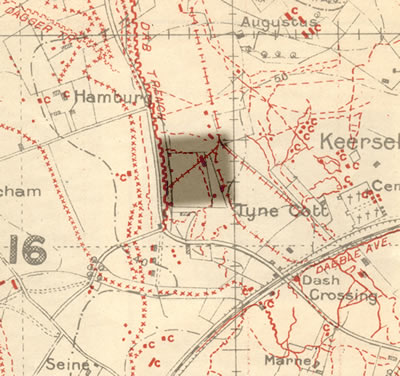 Section of trench map 28.N.E.1 dated 27 September 1917 showing the battle area of Hamburg Farm and Dab Trench.