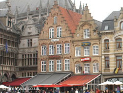 3 taverns: 't Klein Stadhuis, den Anker and de Trompet on the Grote Markt, Ieper/Ypres.