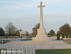 Cross of Sacrifice at Bedford House Cemetery on the Ypres Salient battlefields.