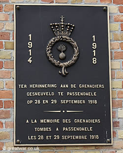 Grenadiers memorial for Passchendaele 1918.