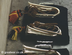 Bugles presented to the Last Post Association by the Royal Corps of Transport in 1992.