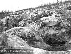 Shell craters in the WW1 landscape.