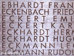 Names at Langemark cemetery of some of the 90,000 missing German soldiers.