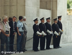 Buglers stand ready just before 8 o'clock at the Menin Gate Memorial.