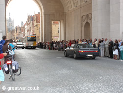 Visitors gather for the 8 o'clock Last Post Ceremony at the Menin Gate Memorial.