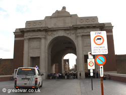 Police stop the traffic at the Menin Gate Memorial.